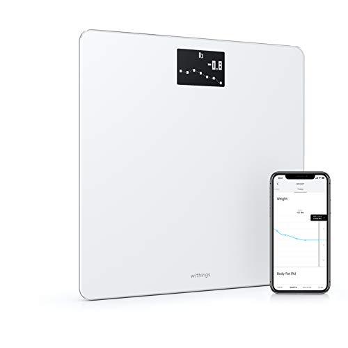 Withings Body – Bilancia Intelligente Wi-Fi con Monitoraggio dell'IMC, Pesapersone Digitale da Bagno e Sincronizzazione con l'App tramite Bluetooth o Wi-Fi, Bianco