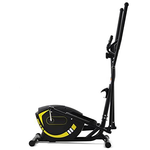 WZFANJIJ Macchina ellittica, Crosstrainer con Sistema di Guida Magnetico Iper-Silenzioso, 8 Livelli di Resistenza per Allenamento in casa in Palestra Max,Yellow