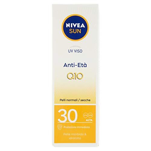 NIVEA SUN Crema viso UV Anti-Età FP30 in tubetto da 50 ml, Crema antirughe con Coenzima Q10 , Crema solareper il viso contro l'invecchiamento