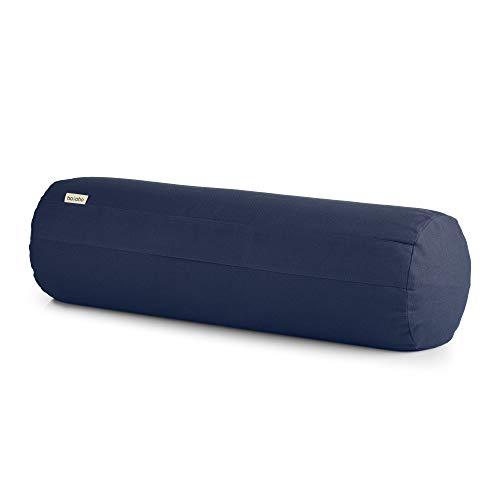 basaho Bolster Yoga Cuscino | Cotone Organico (Certificato GOTS) | Gusci di Grano Saraceno | Rivestimento Lavabile Rimovibile (Blu Notte)