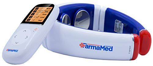 FARMAMED Elettrostimolatore collo, Terapia con calore per dolori muscolari, Elettrostimolatore cervicale multifunzione con telecomando wireless con display LCD
