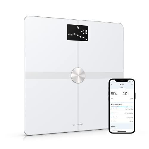 Withings Body+ – Bilancia Intelligente con Analisi della Composizione Corporea, Misurazione di IMC, Pesapersone Digitale da Bagno, Sincronizzazione dell'App tramite Bluetooth o Wi-Fi, Bianco