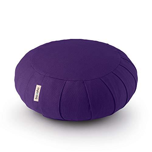 basaho Classic Zafu Cuscino da Meditazione | Cotone Organico (Certificato GOTS) | Gusci di Grano Saraceno | Rivestimento Lavabile Rimovibile (Viola Puro)