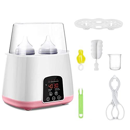 Scaldabiberon, Sterilizzatore per Biberon, Scaldabiberon, Scaldabiberon doppio per latte materno, con display LCD, timer e 5 accessori (Rosa)