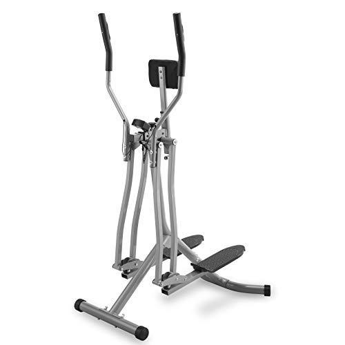 Physionics® Cross Trainer - con Display LCD, Carico Massimo 120 kg, Sensore di Frequenza Cardiaca e Supporto Addominale, Acciaio - Air Walker, Stepper con Manubrio