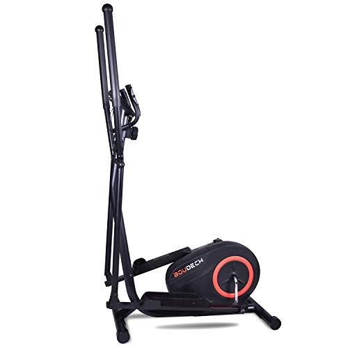 Bici cyclette ellittica cross trainer bidirezionale con volano da 5kg ultra silenzioso, resistenza magnetica regolabile su 8 livelli e design con doppia impugnatura e cardiofrequenzimetro. (Nero)