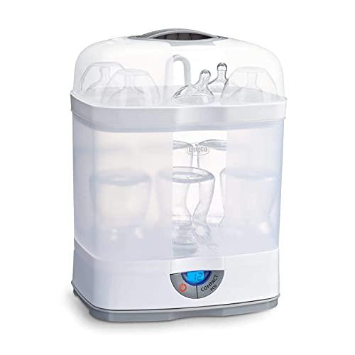 Chicco SterilNatural Sterilizzatore Biberon 3in1, Sterilizzatore Modulare a Vapore Naturale Adatto per il Microonde, con 3 Configurazioni, Veloce e Facile da Usare, Fino a 6 Biberon da 330 ml, Bianco