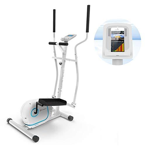 KLAR FIT Myon Cross - Ellittica, Cyclette, Telaio Certificato EN957, Volano 12 kg, Frenatura Magnetica, Supporto per Tablet, Trasmissione a Cinghia SilentBelt, Sensore Impulsi, Bianco