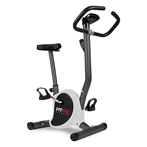 FITFIU Fitness BEST-100 - Cyclette stazionaria ultracompatta con disco inerziale da 5kg, colore grigio, regolabile su 8 livelli, display LCD, pedali con cinghie di fissaggio, peso massimo 100kg
