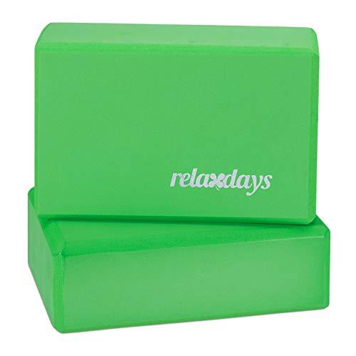 Relaxdays, Blocchi per Yoga Set da 2, Mattoncini per Esercizi, Antiscivolo Unisex Adulto, Verde, HxLxP 8x23x15 cm