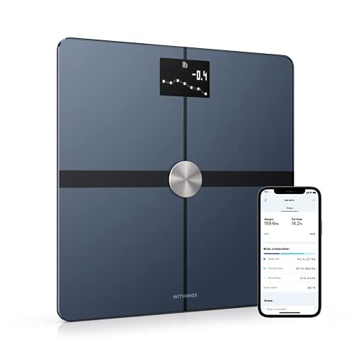 Withings Body+ – Bilancia Intelligente con Analisi della Composizione Corporea, Misurazione di IMC, Pesapersone Digitale da Bagno, Sincronizzazione dell'App tramite Bluetooth o Wi-Fi, Nero