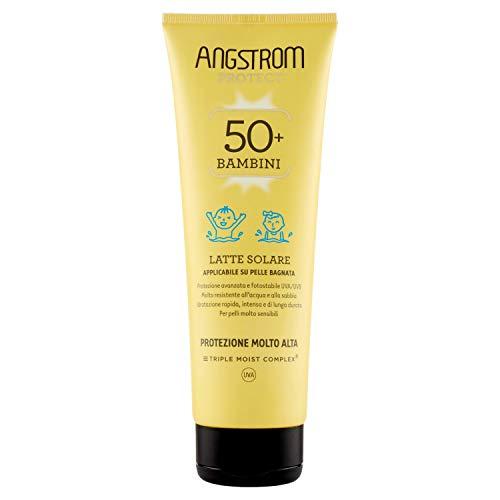 Angstrom Protect Latte Solare per Bambini, Protezione Solare 50+ con Azione Idratante Istantanea, Nutriente, Indicata per Pelli Sensibili, 250 ml