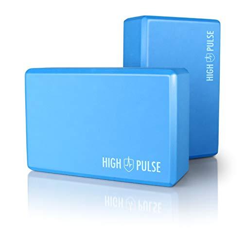 High Pulse® Blocchi Yoga (2 Pezzi) - Mattoncini Yoga Blocks in Schiuma Eva ad Alta densità e qualità, Ultra Leggero e inodore per Pilates, Yoga e Fitness (Eva| Blu)