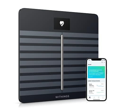 Withings Body Cardio - bilancia intelligente Wi-Fi con analisi della composizione corporea, monitoraggio della salute cardiaca, età vascolare, IMC, massa grassa, muscolare e ossea, % acqua - Nero