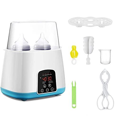 Scaldabiberon, Sterilizzatore per Biberon, Scaldabiberon, Scaldabiberon doppio per latte materno, con display LCD, timer e 5 accessori (Blu)