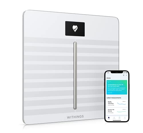 Withings Body Cardio - bilancia intelligente Wi-Fi con analisi della composizione corporea, monitoraggio della salute cardiaca, età vascolare, IMC, massa grassa, muscolare e ossea, % acqua - Bianca