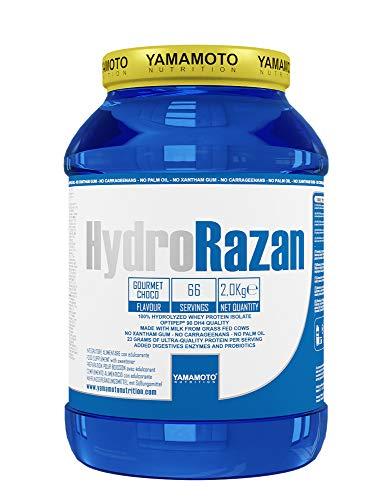 Yamamoto Nutrition Hydro RAZAN® new formula integratore alimentare a base di proteine del siero del latte idrolizzate Optipep® 90 con aggiunta di probiotici ed enzimi digestivi gusto Cioccolato 2000 g