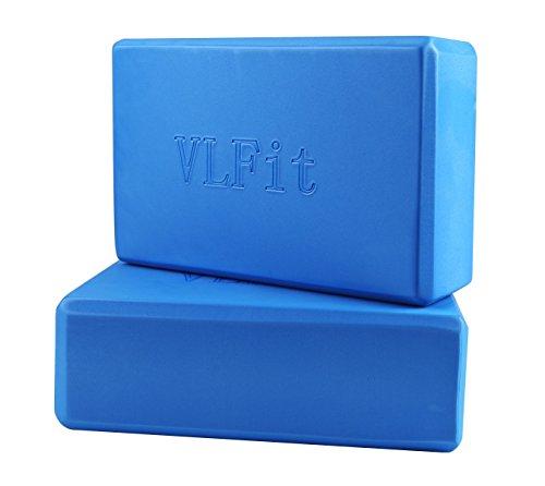 VLFit 2 Pezzi Blocchi Yoga - Eva Schiuma Supporto Blocco per Yoga, Pilates e Stretching (Blu)
