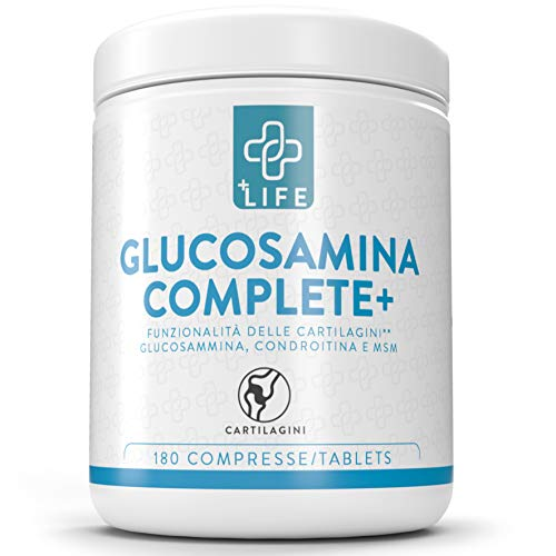 Glucosamina Condroitina PiuLife® ● 180 Compresse con MSM e Vitamina C ● Integratore Articolazioni e Cartilagini per Ricomposizione e Riduzione Dolore ● MSN Integratore Concentrato