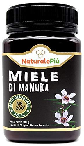 Miele di Manuka 200+ MGO 500 gr. Prodotto in Nuova Zelanda, Attivo e Grezzo, Puro e Naturale al 100%. Metilgliossale Testato da Laboratori Accreditati.