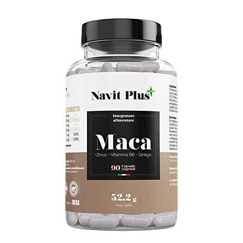 Maca. Estratto di maca peruviano con L-Arginina, Zinco, Ginkgo e Vitamina B6. Aumenta il livello di testosterone ed energia. 200 mg (25:1) x2 compresse al giorno, 5000mg. 90 capsule vegetali