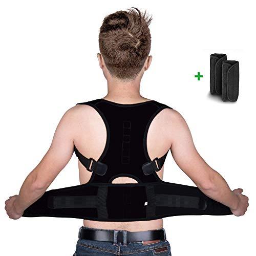 isermeo Correttore Postura Schiena, Corretta Posturale Spalle Regolabile, a Fascia Supporto Postura Correzione Traspirante Cintura Sostegno Ortopedica lombare e Busto per Donne e adolescenti