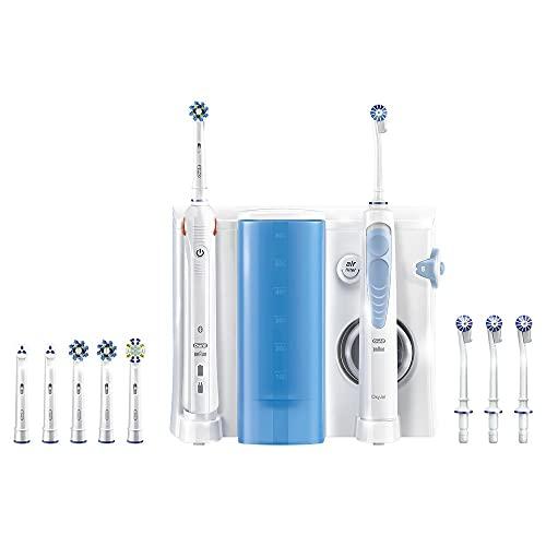 Oral-B Oxyjet Spazzolino Elettrico con Idropulsore Dentale, 4 + 6 Testine, con Guida Smart e Timer, Batteria Litio, Idea Regalo, Bianco