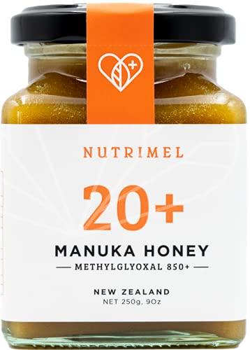 NUTRIMEL Miele de Manuka 20+ (MGO 850+) testato e certificato | 100% puro Nuova Zelanda | (20+, 250g)