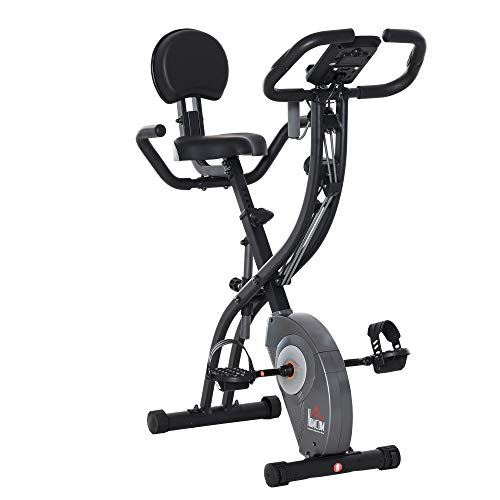 homcom Cyclette Pieghevole con Schienale, Bande Elastiche, Cyclette Professionale con Display LCD Grigia