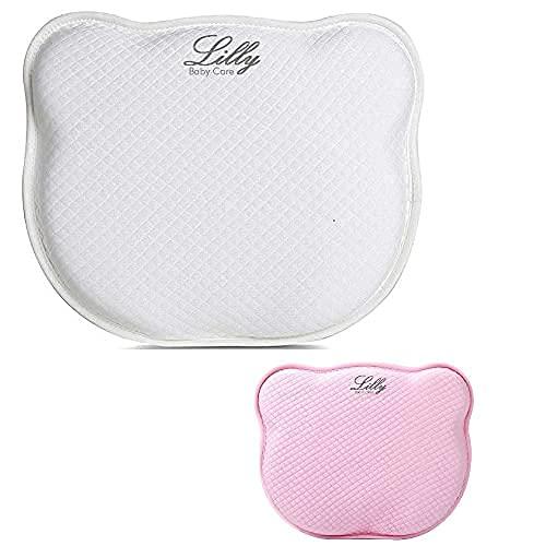 Cuscino Neonato Culla e Passeggino per Prevenire la Testa Piatta (Plagiocefalia), Sfoderabile (1 Bianco + 1 Rosa)