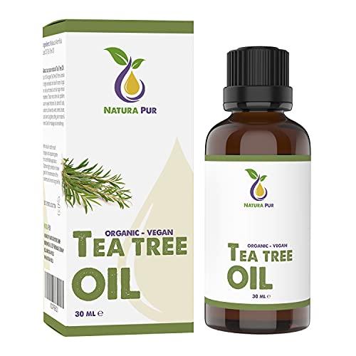 Tea Tree Oil BIO 30ml - Olio Tea Tree puro anti acne, brufoli e punti neri, Olio Essenziale di Albero del Tè per aromaterapia diffusore massaggio