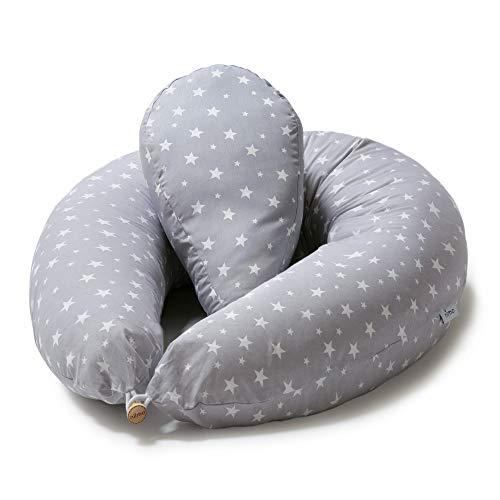 Niimo Cuscino Gravidanza e Allattamento per Dormire di lato con Cuscino Piccolo Multifunzionale Federa Esterna 100% Cotone Sfoderabile e Lavabile Uso Versatile (Grigio Stelle Bianche)