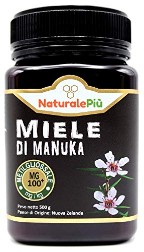 Miele di Manuka 100+ MGO 500 gr. Prodotto in Nuova Zelanda, Attivo e Grezzo, Puro e Naturale al 100%. Metilgliossale Testato da Laboratori Accreditati.