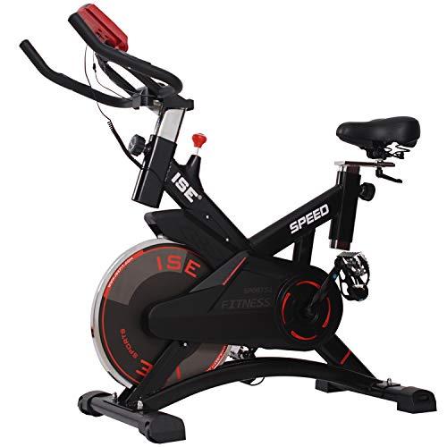 ISE Bicicletta Spinning Cyclette Indoor con Volantino di Inerzia&Resistenza Regolabile,Bici da Fitness Ergonomica con Sensore di Impulsi,Ruote di Trasporto,Porta Tablet,Salvaspazio,Max.120KG,7005-1