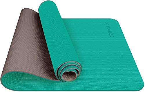 TOPLUS Tappetino da yoga, classico Pro Fitness Mat TPE Eco Friendly Tappetino antiscivolo con cinghia per il trasporto, tappetino da allenamento per yoga, pilates e ginnastica, 183 x 61 x 0,6 cm (blu e nero)