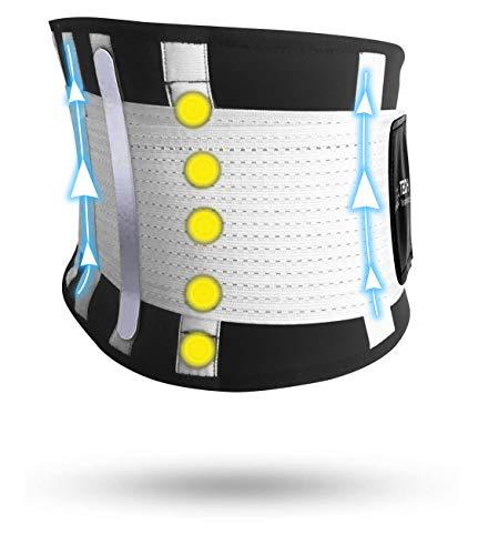 TECH THERAPEUTICS - Fascia Lombare Supporto Schiena Cintura Palestra di Sostegno Fascia Schiena Elastica Addominale Uomo Donna Con Flessibili Stecche e Terapia Magnetica Taglia (XS - M)