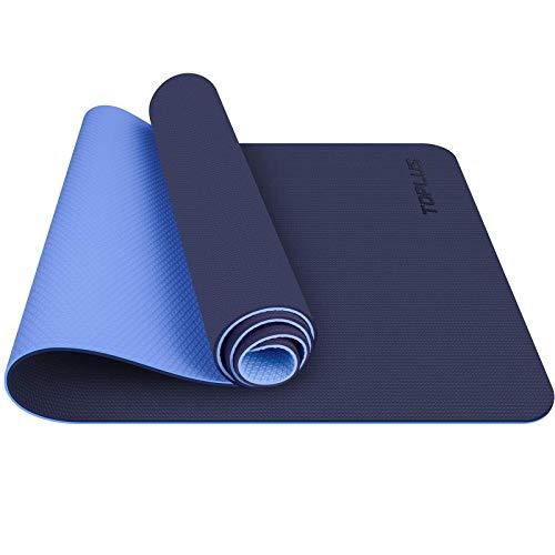 TOPLUS Tappetino da Yoga, Tappetino da Yoga Imbottito e Antiscivolo Fitness Pilates e Ginnastica con Cinturino di TPE,180 x 60 cm (Blu)