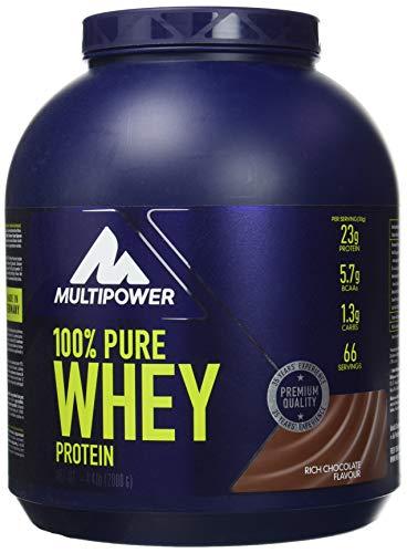 Multipower 100% Pure Whey Protein - Fino a 80% di Proteine del Siero del Latte - Proteine Isolate come Fonte Principale - 67 Porzioni - Per lo sviluppo Muscolare - 2 Kg - Gusto Cioccolato