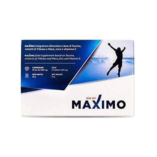 MAXIMO® Integratore Energizzante per Uomo | 1200Mg Taurina Maca Tribulus | Migliora Prestazioni, Vigore e Resistenza Maschile | Effetto Immediato | Made in Italy | 100% Naturale No Glutine Lattosio