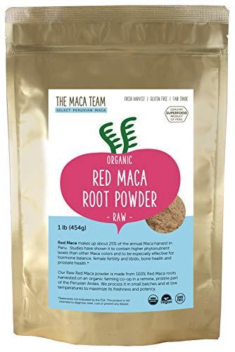 Polvere di radice di maca rossa cruda – certificata biologica, da commercio equo e solidale, senza OGM, raccolta fresca in Perù, senza glutine, vegana e precotta da 500 g - 50 porzioni.