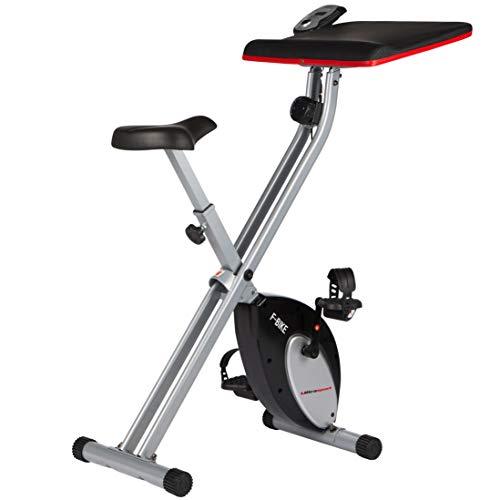 Ultrasport F-Bike Work, Peso Massimo 100 kg, Cyclette da Allenamento, Bici da Fitness con Computer di Allenamento e Sensori delle Pulsazioni, Pieghevole Unisex Adulto, Rosso/Argento/Nero