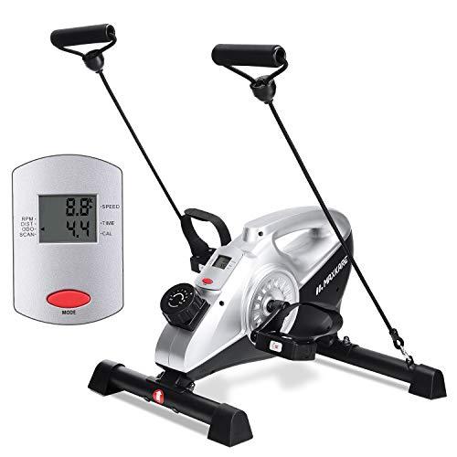 MaxKare Cyclette Pedaliera Mini Desk Cyclette Pedali Magnetica Cyclette da Casa con Monitor LCD per Braccia e Gambe Bicicletta Fitness(Fasce di Resistenza Incluse