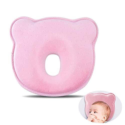 Baby Pillow,Cuscino Prevenzione Testa Piatta,Cuscini memory foam a testa piatta,Cuscino baby in Memory Foam,Cuscino Neonati ,Cuscino per neonato,0-24 mesi(Rosa)
