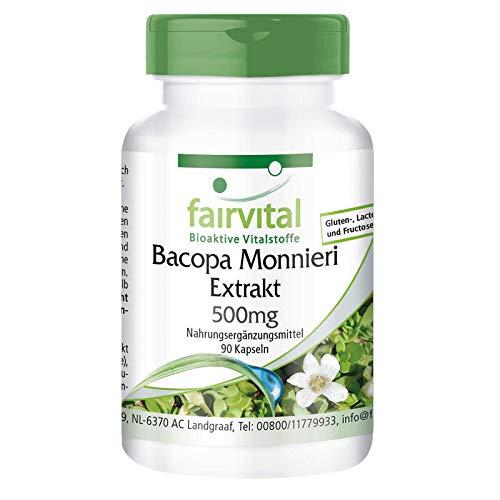 Estratto di Bacopa Monnieri 500mg (Brahmi), standardizzato al 20% Bacoside, vegan, 90 Capsule