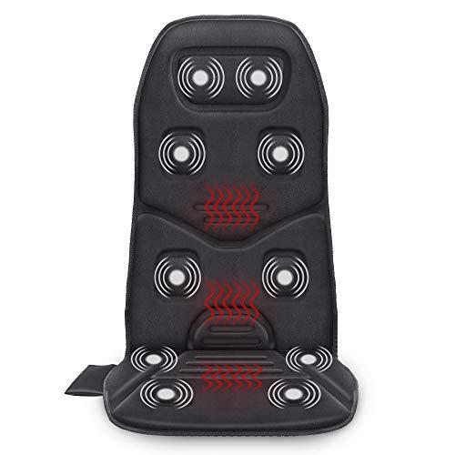 Comfier Cuscino Sedile Massaggiante con calore - Sedia Massaggiante con 10 Motori a Vibrazione, 3 Cuscinetti Riscaldanti, Sedia Massaggiante per la Schiena Natale Regali Ideali per Donne e Uomini