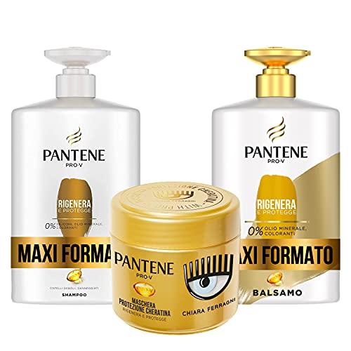 Pantene Pro-V by CHIARA FERRAGNI Shampoo Rigenera & Protegge per Capelli Deboli o Danneggiati, Maxi Formato da 1000 ml + Balsamo 900 ml + Maschera 300 ml, EDIZIONE LIMITATA