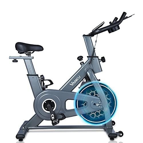 Vanku Cyclette da casa con Volano 6 kg, Bike a Controllo Magnetico, Cyclette Fitness con Sella Regolabile, Resistenza Regolabile e Display LCD, 18 mesi di garanzia