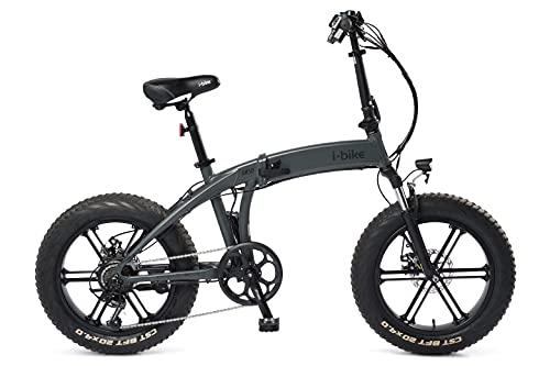 i-Bike Orso ITA99, Bicicletta elettrica ripiegabile Unisex adulto, Grigio canna di fucile, unica