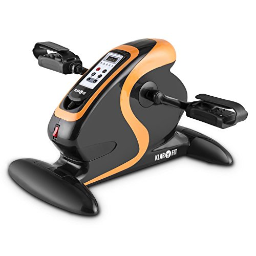 Klarfit Cycloony MiniBike Motor Cyclette compatta a motore (per braccia e gambe, 12 velocità, durata dell'allenamento regolabile, movimento in avanti o indietro, telecomando) - nero/arancio