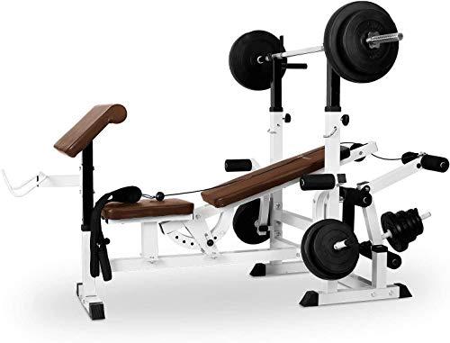 Klarfit Workout Hero 3000 - Panca Multifunzione, Palestra Multifunzione, Stazione Fitness, Estensioni Gambe e Braccia, Bicipiti, Cross Training, Schienale Regolabile, Panca Bilancere, HomeGym, Bianco